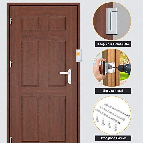 Home Security Door Lock, Childproof Door Reinforcement Lock with 3'' Stop Withstand 800 lbs for Inward Swinging Door, Upgrade Night Lock Double Protection Your Home (Silver-2 Pack) by Senignol (Image #4)