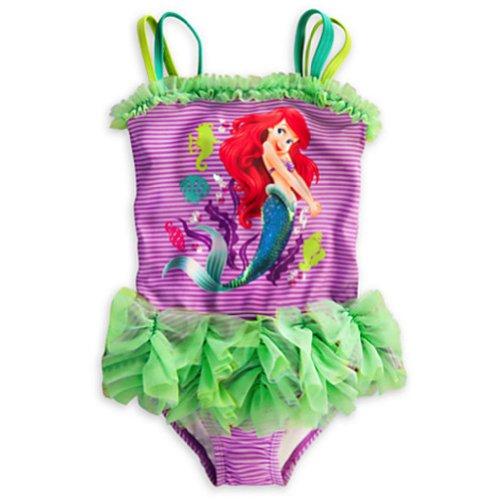 Disney Store Girls' Deluxe Ariel Swimsuit -5-6 Green