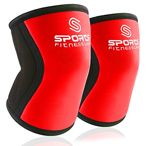 [Knee Sleeves (Large) Red by Sports Fitness Labs - 7 mm Knee Support Wraps Best for WODs, Weightlifting, Powerlifting, Bodybuilding, Squats, Plyometics, Fitness - Men & Women - Pair of Knee Sleeves] (Hockey Wheel Axle)