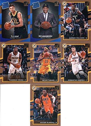 2017-18 Donruss Basketball Indiana Pacers Team Set of 7 Cards: Victor Oladipo(#56), Domantas Sabonis(#57), Myles Turner(#58), Thaddeus Young(#59), Darren Collison(#60), Ike Anigbogu(#176), T.J. Leaf(#183)