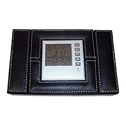 Faux Leather Travel Jewelry Box with Multi-Function Alarm Clock In Lid.