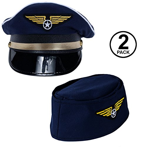 Tigerdoe Pilot Hat - 2 Pack - Captain Pilot Hat - Pilot and Flight Attendant Costume - Couples Costumes -
