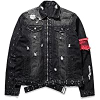 iooho Men's Denim Jacket Ripped Distressed Jeans Jacket Rugged Trucker Jacket For Man