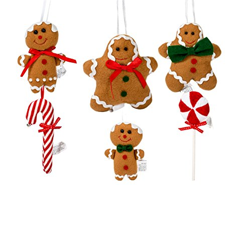 Gingerbread Peppermint Candy 5 Inch Christmas Ornament Figurines Set of (Peppermint Ornaments)