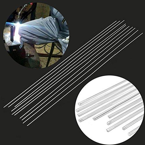 WILLAI 10pcs Low Temperature Welding Rod Silver Metal Aluminum Magnesium Soldering Brazing Stick Rod 2.4mmx450mm