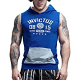tank hood 40 - AIMPACT Cotton Sleeveless Hoodie Men Bodybuilding Stringer Gym Tank Top Fitted Workout Athletic Muscle Shirt Hoodie (Blue,XXL)