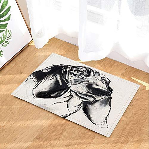 (Animal Bath Rugs by Pencil Sketch Pet Dog Basset Hound Digital Printing Non-Slip Doormat Floor Entryways Indoor Front Door Mat Kids Bathroom Accessories )