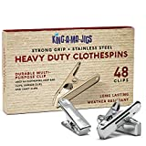 48 Pack - Long Lasting, Stainless Steel Clothespins - Strong Grip - Weather-Resistant, Multipurpose Clip - Use As Clothesline Clip, Chip Bag Clips, Hanger Clips and Craft Clips
