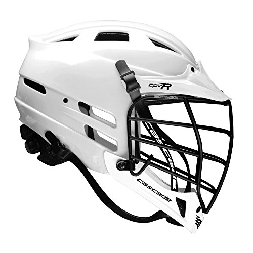 Cascade CPV-R Lacrosse Helmet with Black Face Mask (Choose Your Shell Color) (White, Medium/Large)