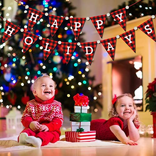 Happy Holidays Banner – Christmas Decorations – Red Black Buffalo Plaid Christmas Bunting Banner – Happy Holiday Pennant…