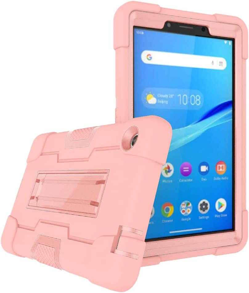 Cherrry Case for Lenovo Tab M7 Tablet Case, Heavy-Duty Drop-Proof and Shock-Resistant Rugged Hybrid case(with Built-in Stand) for Lenovo Tab M7/TB-7305F/TB-7305I/TB-7305X 7.0 Inch(Rose Gold)