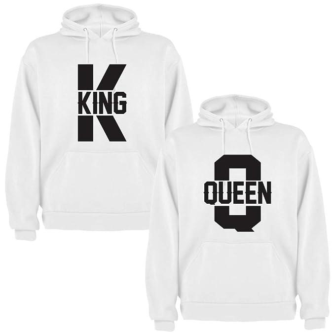 Pack de 2 Sudaderas Blancas para Parejas King K y Queen Q Negro: Amazon.es: Ropa y accesorios
