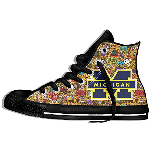 Fashion Product Michigan Wolverines Flat High-top Lace Up Canvas Sneaker