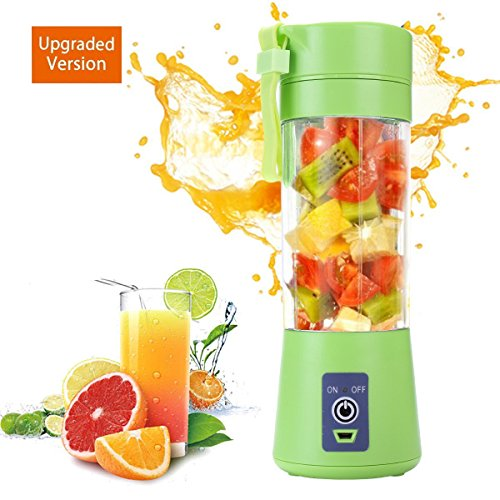 (Portable blender Personal 6 Blades Juicer Cup Household Fruit Mixer, With Magnetic Secure Switch, USB Charger Cable 380ML(Green))