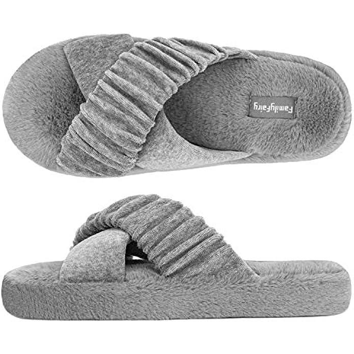 FamilyFairy Women's Velvet Cross Band Slide Slippers Comfy Memory Foam Non-Slip Ladies House Shoes