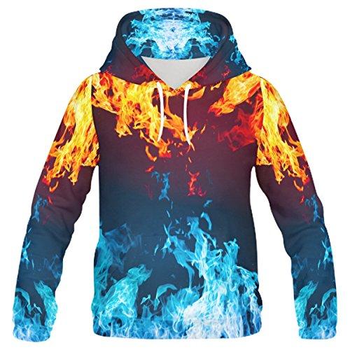 Fire Design (InterestPrint Custom Cool Design Ice and Fire Women's Pullover Hoodies Sweatshirt M)