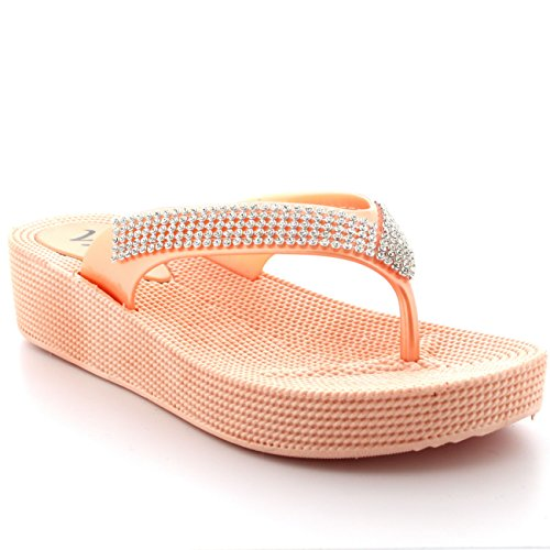 Womens Sandals Holiday (Viva Womens Diamante Holiday Sandals Thong Jelly Beach Wedge Heel Flip Flops - Nude - US8/EU39 - PN0003)