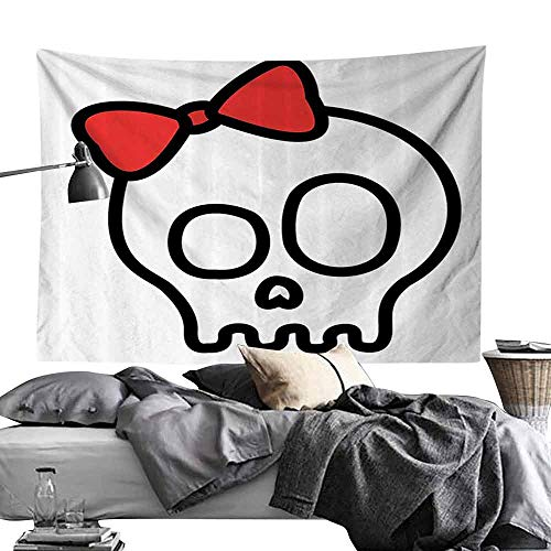 Commemorative Tapestry Skulls Decorations Collection Illustration of Baby Skull Girl with Lace and Halloween Dead Head Teen Emo Art Bedroom Home Decor W24 x L20 Red White Black -