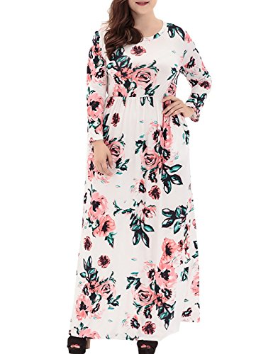White Dora Dresses Plus Size Sleeves Floral Dress Maxi Long Women's Print Casual Bridal 47qfwxrn4