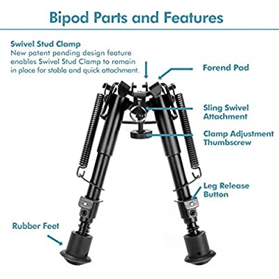 Tactical Bipod Sale,Swingga Tactical Pivot Bipod [Sling Swivel Stud Mount] Ajustable Spring Return [Best Hunting Bipod] For Shooting Airsoft Rifle Gun Sniper