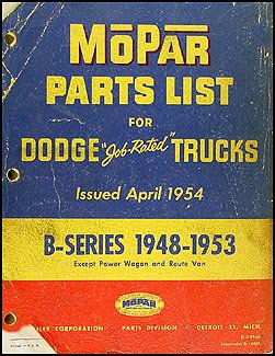 1948-1953 Dodge Pickup and Truck Parts Book Original B1 B2 B3 B4