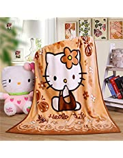 """Cartoon Throw Blanket Hello Kitty Adults & Baby Cozy Plush Fleece Coral Velvet Fuzzy Blanket for Bedroom Bed,Couch Chair,Living Room,Air Conditioning Cool Blankets 40""""X55"""" (Kitty-Brown)"""