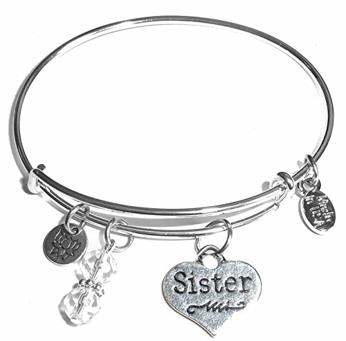 Hidden Hollow Beads Message Charm (14 words to choose from) Expandable Wire Bangle Bracelet, in the popular style, COMES IN A GIFT BOX! (Sister (Heart))
