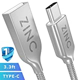 USB C Cable - 3ft Metal Braided USB Type C Cable - High Speed Data Transfer & Fast Charging Cord for Samsung Galaxy S9, S8, Plus, Note 8, Google pixel 2 XL, Nexus 6P 5X, LG V30 V20 G5 G6, Moto Z