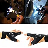 LED Flashlight Gloves, Cuitan Multifunctional Waterproof Night Lighting Torch Lamp Gloves with 2 LED light for Camping Cycling Fishing Running Outdoor Activities in the Dark - Left Hand + Right Hand