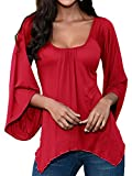 Smibra Womens Solid 3 4 Flare Sleeve Square Neck Various Hem Pleat Shirt Blouse Top Red XL