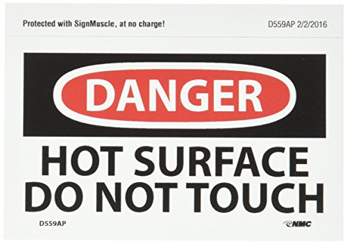 """NMC D559AP OSHA Sign, Legend """"DANGER - HOT SURFACE DO NOT TOUCH"""", 5"""" Length x 3"""" Height, Pressure Sensitive Adhesive Vinyl, Black/Red on White (Pack of 5)"""