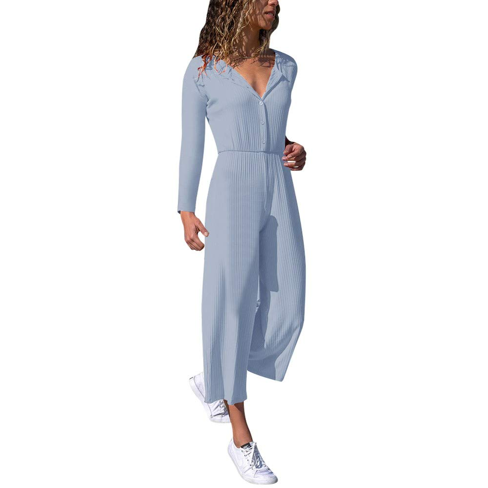 SMALLE ◕‿◕ Clearance,Jumpsuit for Women, V Long Sleeve Wide Leg Casual Jumpsuit Playsuit Party Holiday Beach
