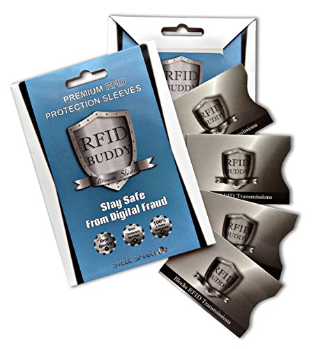 RFID Sleeves Preventing Identity Theft & Fraud - Pack of 4 Superior Quality Blocking Sleeves that Shield Radio Frequency ID - Tearproof And Waterproof - Fits Any Business Cards Holder, Wallet or Purse