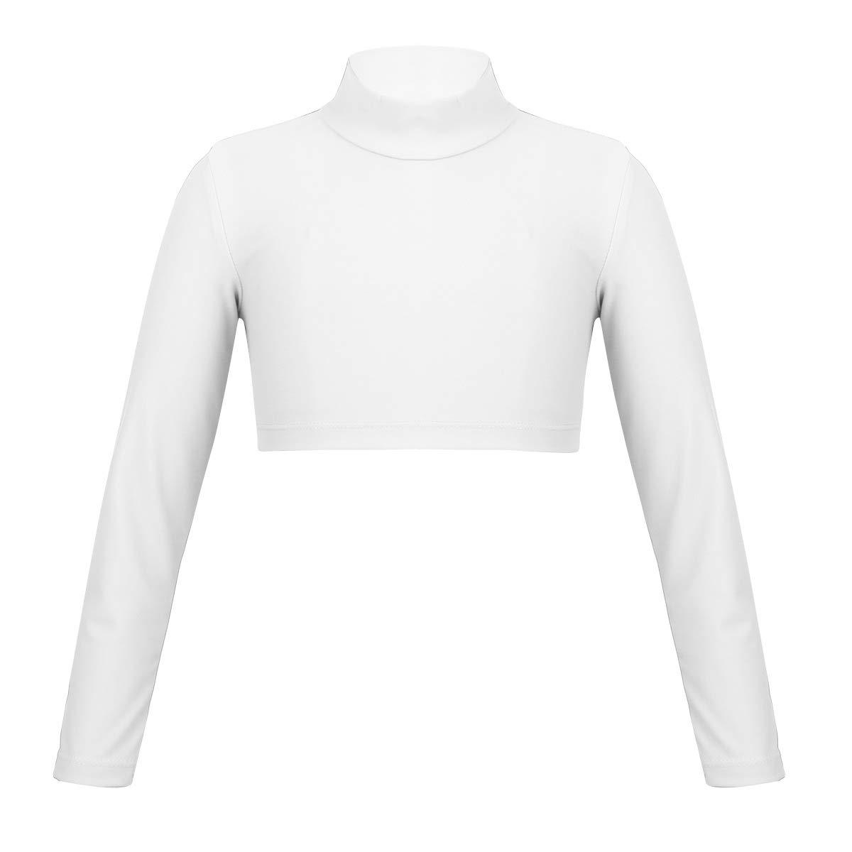 YiZYiF Kids Girls Basics Nylon Lcyra Sportswear Athletic Long Sleeve Stretch Short Polo Neck T-Shirt Crop Top