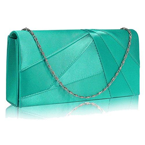 The FabLookAcc , Damen Clutch grün smaragdgrün