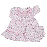 Kissy Kissy Baby Girls Fall Blossoms Print Dress W/ Smocking And Diaper Cover-9mos