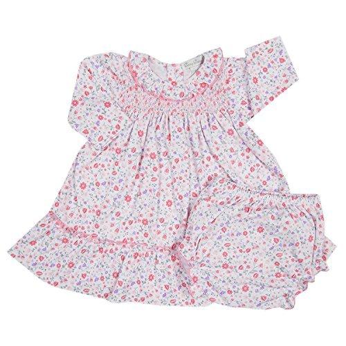 Kissy Kissy Baby Girls Fall Blossoms Print Dress W/ Smocking And Diaper Cover-9mos by Kissy Kissy