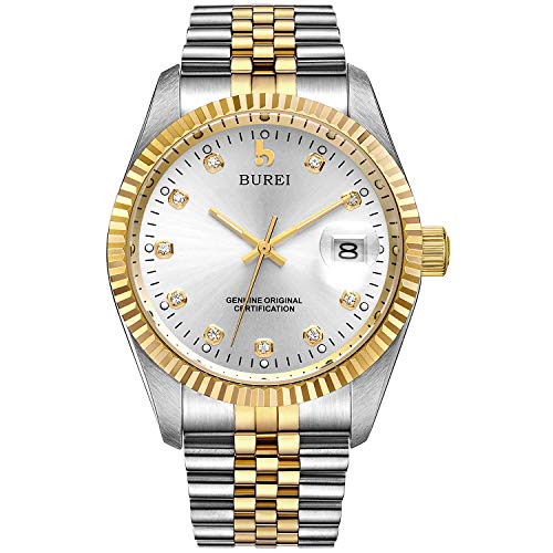 BUREI Men's Luxury Automatic Watch with Sapphire Crystal Rhinestone Marker Date Silver Dial and Two-Tone Stainless Steel Band