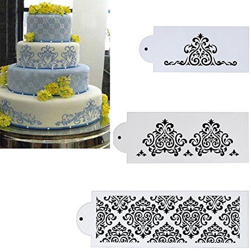 Whitelotous Different Patterns Cake Cookie Fondant Side Baking Stencil Wedding Decor Mold Tool (Type F) Lace Type