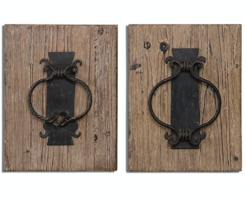 Diva At Home Set of 2 Country Rustic Fir Wood Wall Art Plaques with Metal Replica Door Knockers