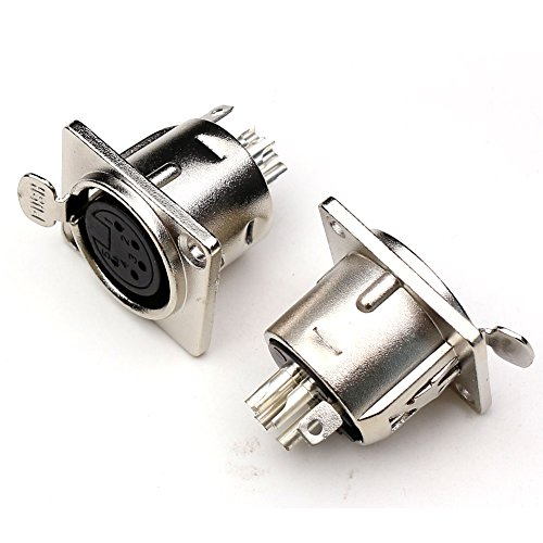 (TEZONG 5 Pin Female XLR Panel Mount Connector Microphone Adapter 2Packs)