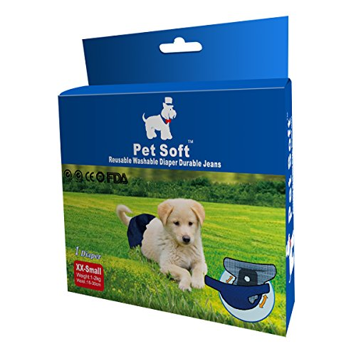 Pet Soft Washable FeMale Dog Diapers Washable Reusable(1 Pack,XXS)- Durable and Stylish Puppy Diapers