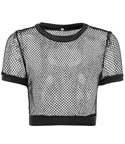a87720be213 Nihsatin Women's Elastic Fishnet Long Sleeve Mesh Crop Top Clubwear See  Through