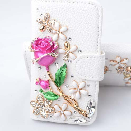 Galaxy S4 Case, LA GO GO(TM) 3D Bling Handmade Glitter Rhinestone Pearl Leather Flip Wallet Protective Case for Samsung Galaxy S4 i9500 (Rose Flower)