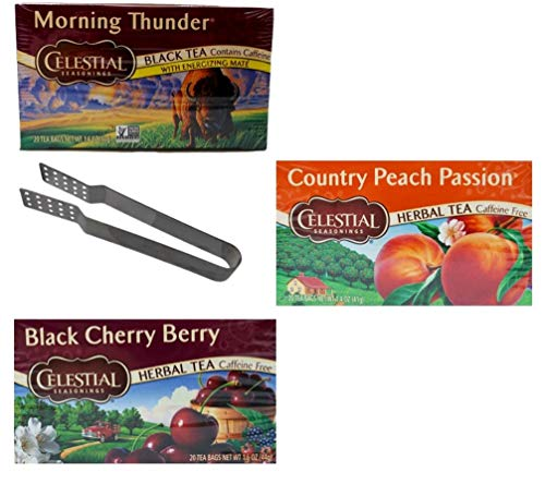 Celestial Seasonings Tea 3 Flavor Variety with Bag Squeezer Bundle, 1 Each: Morning Thunder, Country Peach Passion, Black Cherry Berry (20 Count Boxes)