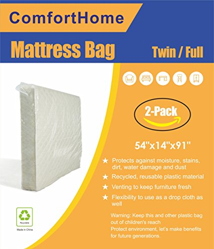 ComfortHome 2 Pack Mattress Bag for Moving and Storage, Waterproof, Dust Proof, Bed Bug Proof