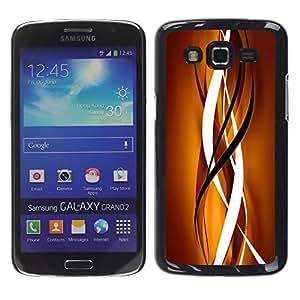 LECELL--Funda protectora / Cubierta / Piel For Samsung Galaxy Grand 2 SM-G7102 SM-G7105 -- Gold Brown Black Clean Lines Vertical --