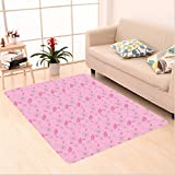 Nalahome Custom carpet l Artistic Design Flower Motifs and Petals Pattern Natural Pink Garden Light Pink Baby Pink Grey area rugs for Living Dining Room Bedroom Hallway Office Carpet (32.4''x118'')