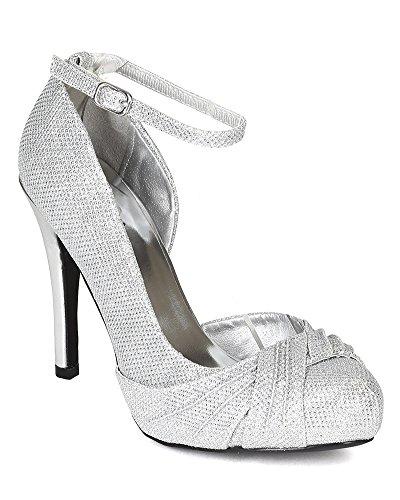 Qupid BH54 Women Glitter Open Shank Ankle Strap Ruffled Platform Stiletto Pump Silver hYsMTt