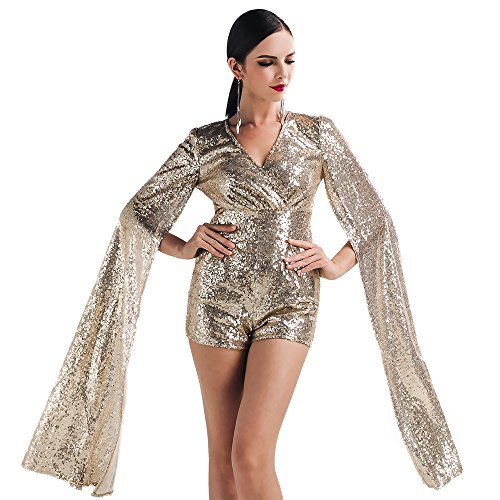 Miss ord Women Sexy deep v Angel Wings Sequin Playsuit Short Romper with Zipper Gold Medium